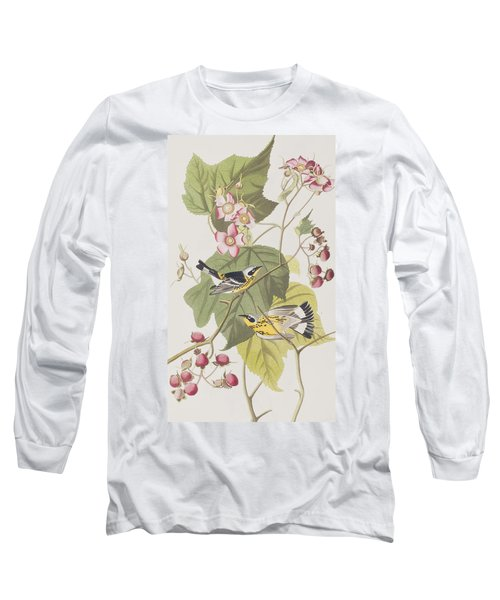 Black And Yellow Warblers Long Sleeve T-Shirt by John James Audubon