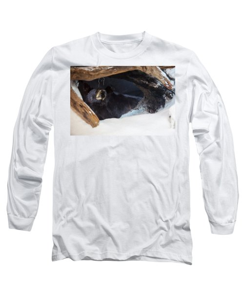 Long Sleeve T-Shirt featuring the digital art Black Bear In Its Winter Den by Chris Flees
