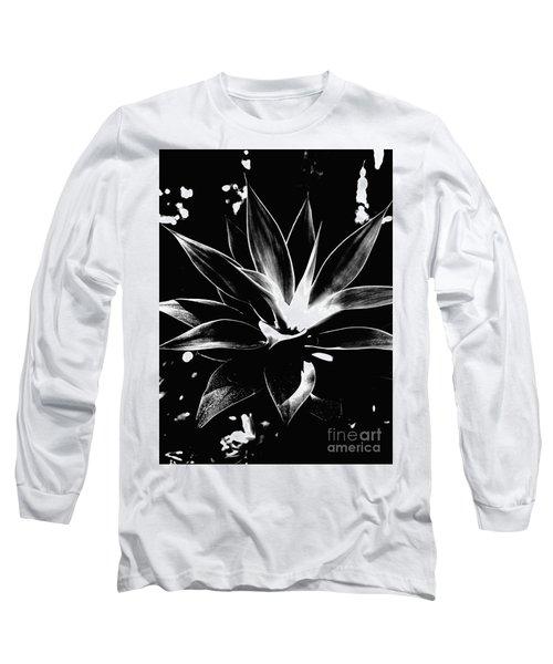 Black Cactus  Long Sleeve T-Shirt by Rebecca Harman