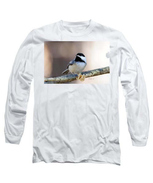 Black-capped Chickadee Long Sleeve T-Shirt by Diane Giurco