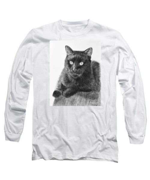 Black Cat Detailed Drawing Long Sleeve T-Shirt by Kate Sumners