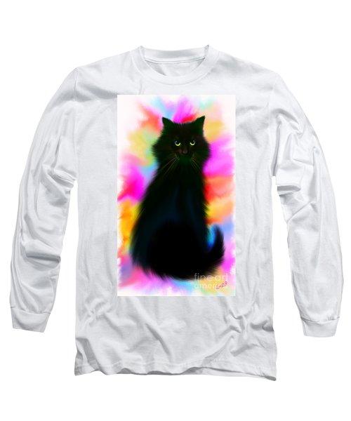 Black Cat Rainbow Sky Long Sleeve T-Shirt