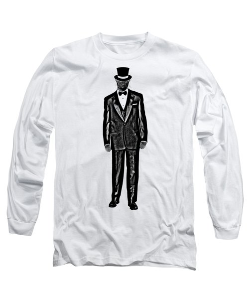 Black Cat Wearing Tuxedo And Top Hat Long Sleeve T-Shirt