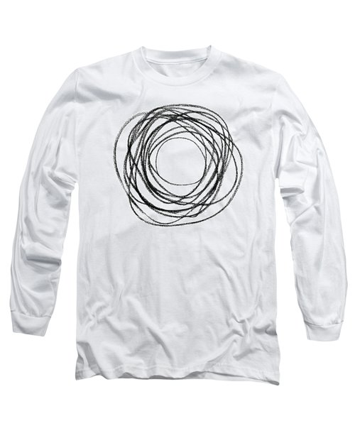 Black Doodle Circular Shape Long Sleeve T-Shirt by GoodMood Art