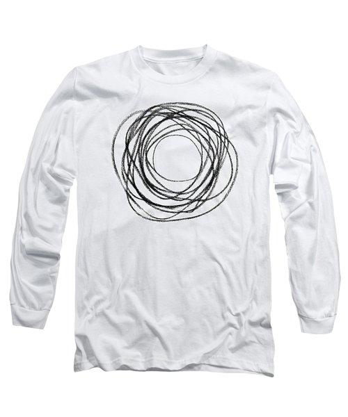 Black Doodle Circular Shape Long Sleeve T-Shirt