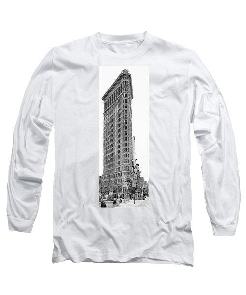 Black Flatiron Building II Long Sleeve T-Shirt by Chuck Kuhn