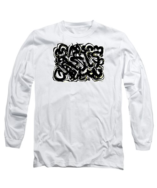 Black Ink Gold Paint Long Sleeve T-Shirt