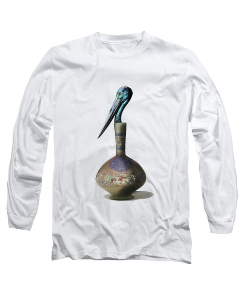 Black Necked Stork Stuffed Inside The Gilded Bottle Long Sleeve T-Shirt by Keshava Shukla