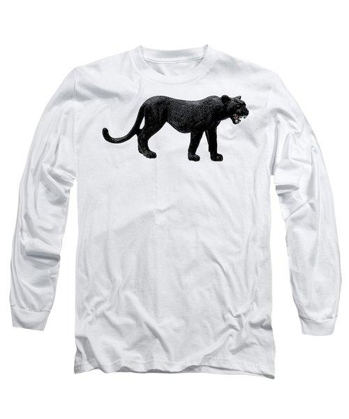 Black Panther, Isolated On White Background, Cartoonized Image, Pose #12 Long Sleeve T-Shirt