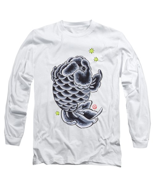 Black Ranchu Long Sleeve T-Shirt by Shih Chang Yang