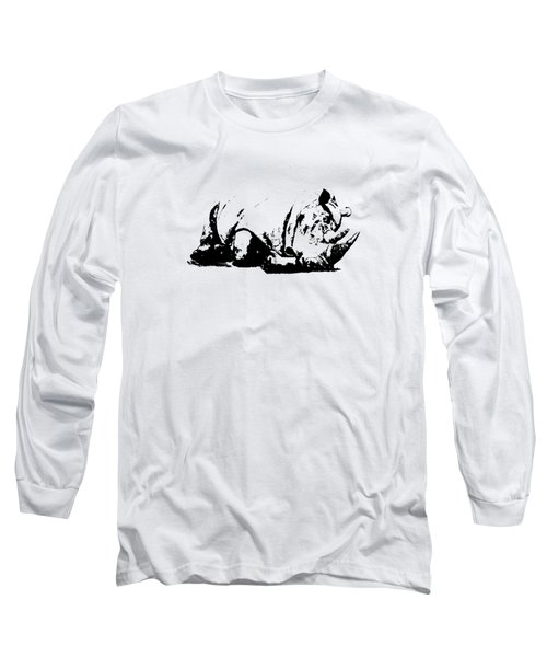 Black Rhino Long Sleeve T-Shirt by Elizabeth Lock