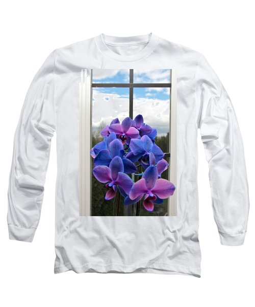 Blue Long Sleeve T-Shirt featuring the photograph Black Sapphire Orchids  by Aaron Berg