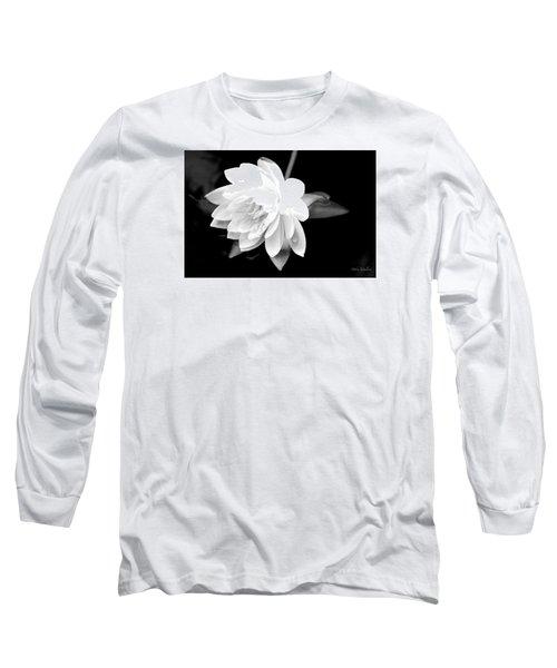 Black/white Lotus Long Sleeve T-Shirt by Debra     Vatalaro