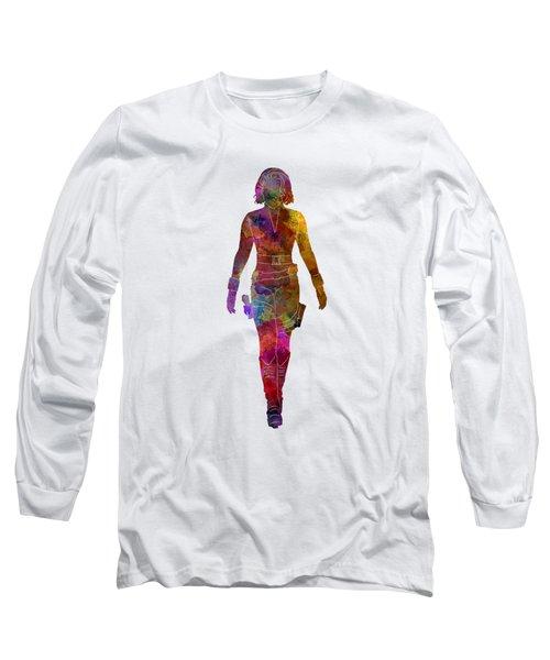 Black Widow 01 In Watercolor Long Sleeve T-Shirt