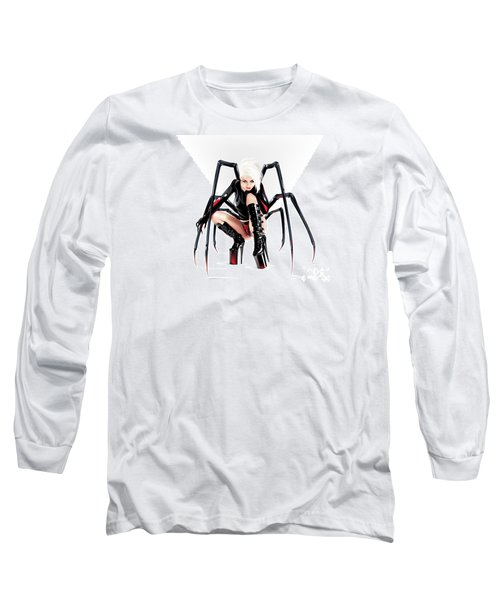 Long Sleeve T-Shirt featuring the drawing Blackwidow by Brian Gibbs