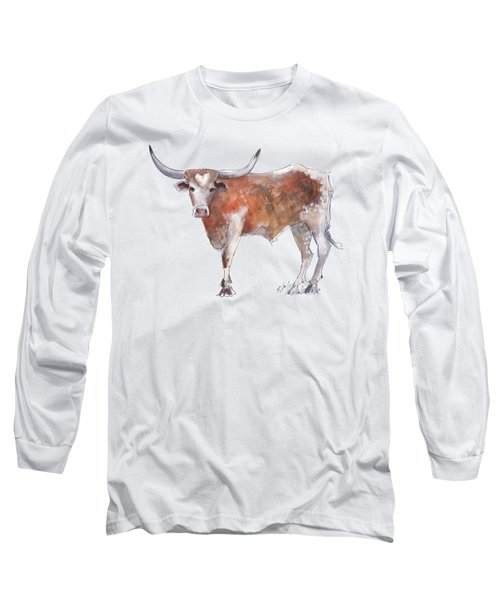 Bless Your Heart Of Texas Longhorn A Watercolor Longhorn Painting By Kathleen Mcelwaine Long Sleeve T-Shirt