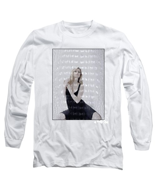 Blonde Girl Crouching Long Sleeve T-Shirt by Michael Edwards