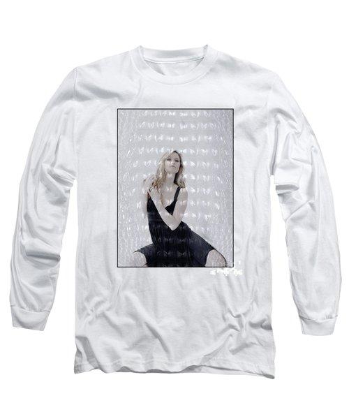 Blonde Girl Crouching Long Sleeve T-Shirt
