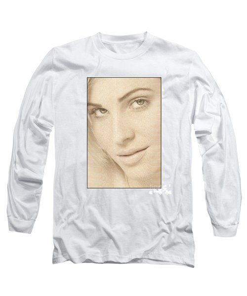 Blonde Girl's Face Long Sleeve T-Shirt by Michael Edwards