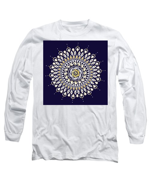 Blue And Gold Lens Mandala Long Sleeve T-Shirt