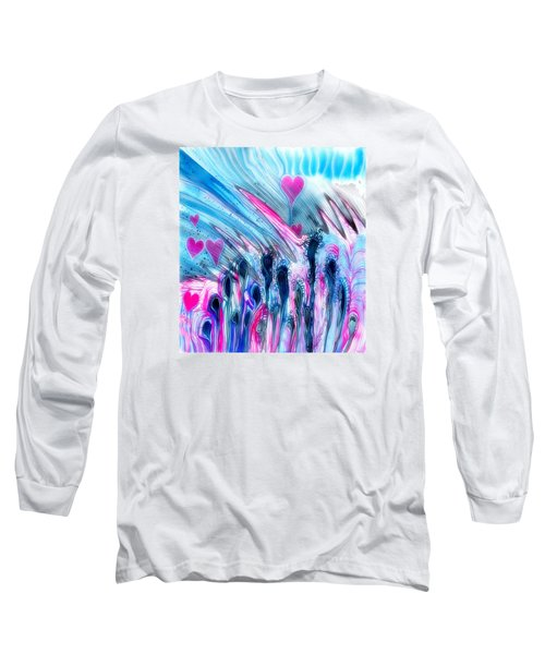 Blue And Hearts Long Sleeve T-Shirt