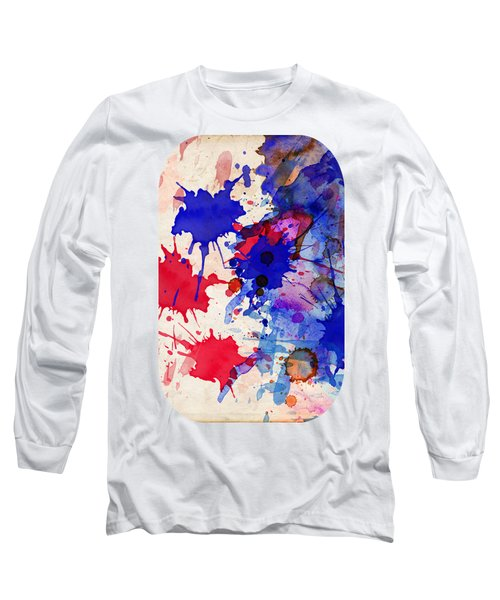 Blue And Red Color Splash Long Sleeve T-Shirt
