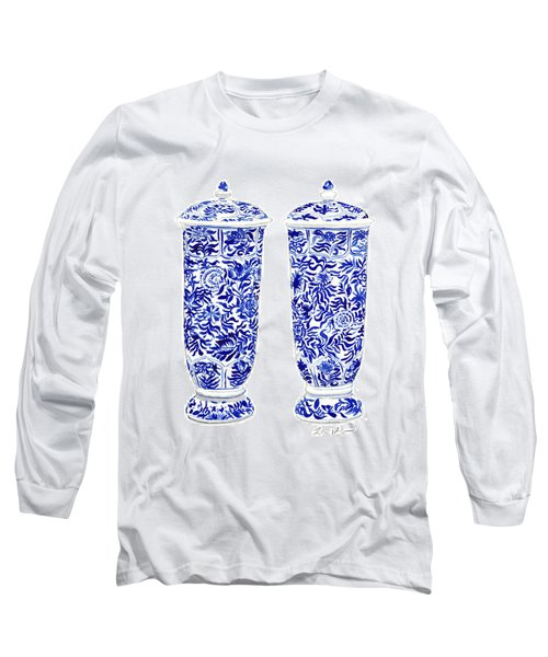 Blue And White Chinoiserie Vases Long Sleeve T-Shirt