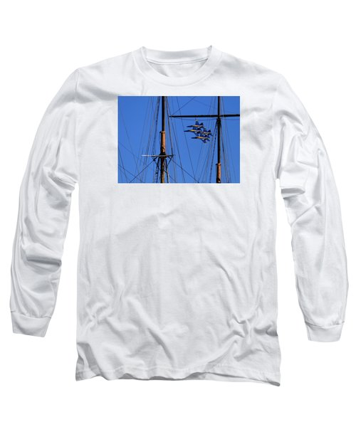 Blue Angels Pass Behind Masts Of The Balclutha At Hyde Street Pier Long Sleeve T-Shirt