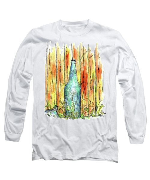 Long Sleeve T-Shirt featuring the painting Blue Bottle by Cathie Richardson