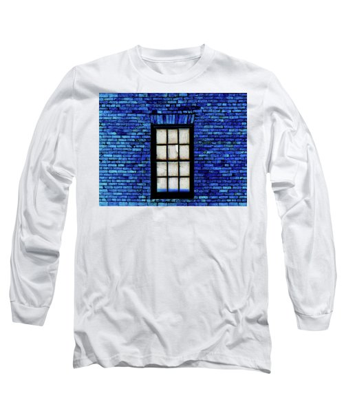 Long Sleeve T-Shirt featuring the digital art Blue Brick by Robert Geary