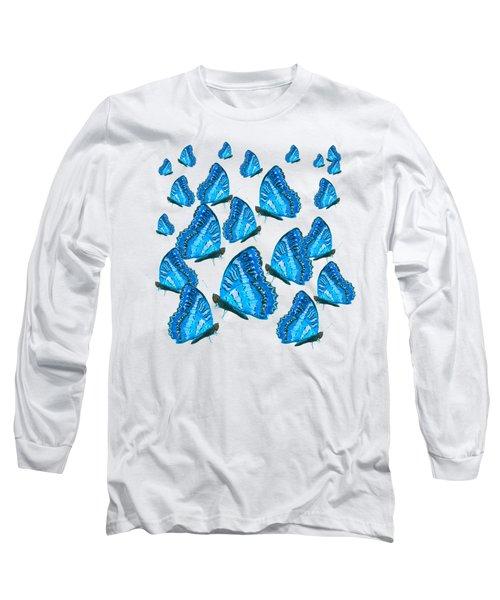 Blue Butterflies Long Sleeve T-Shirt by Jan Matson