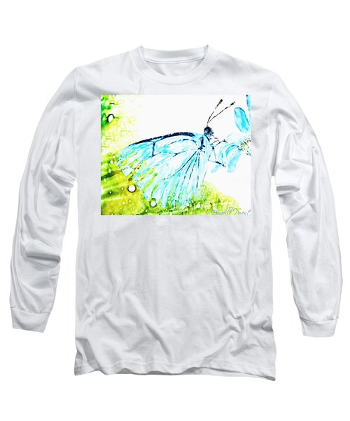 Blue Butterfly On Daisy Alcohol Inks Long Sleeve T-Shirt