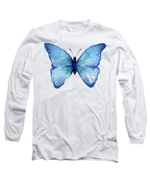Blue Butterfly Watercolor Long Sleeve T-Shirt