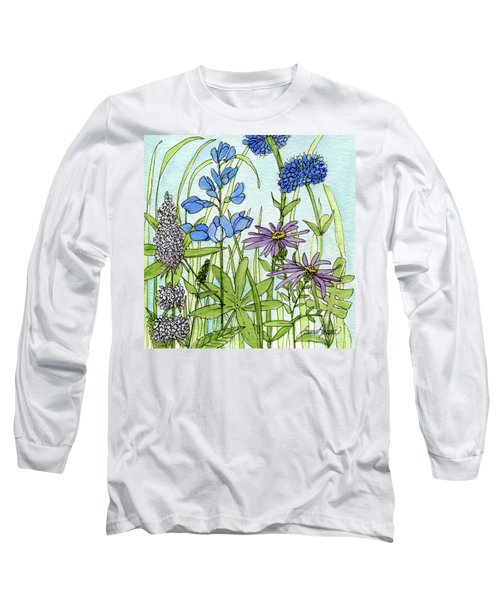 Blue Buttons Long Sleeve T-Shirt by Laurie Rohner