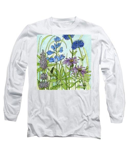 Blue Buttons Long Sleeve T-Shirt