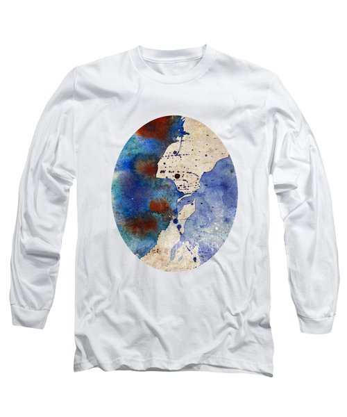 Blue Color Splash Long Sleeve T-Shirt