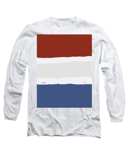 Blue Cream Red Stripes Long Sleeve T-Shirt