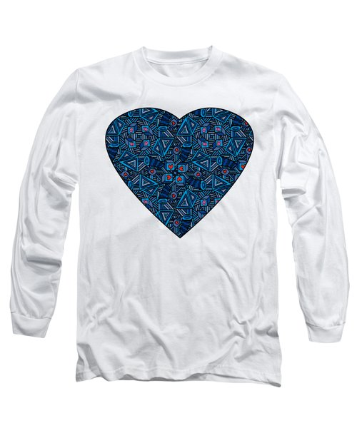 Blue Doodles - Hearts And Smiles   Long Sleeve T-Shirt