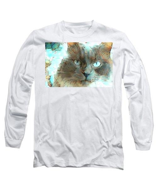 Blue Eyed Persian Cat Watercolor Long Sleeve T-Shirt
