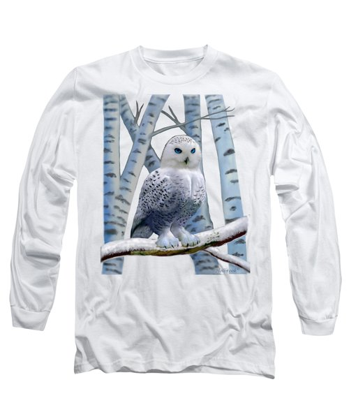 Blue-eyed Snow Owl Long Sleeve T-Shirt by Glenn Holbrook