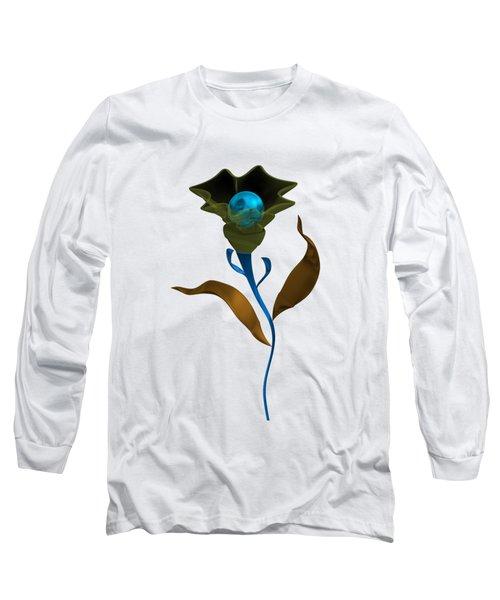 Blue Fruit And Flower Long Sleeve T-Shirt
