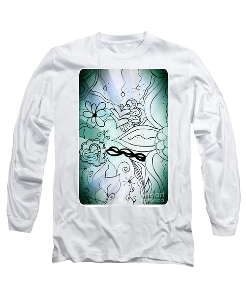Blue Funky Flower Doodles Long Sleeve T-Shirt