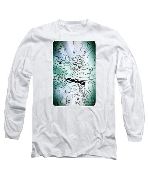 Blue Funky Flower Doodles Long Sleeve T-Shirt