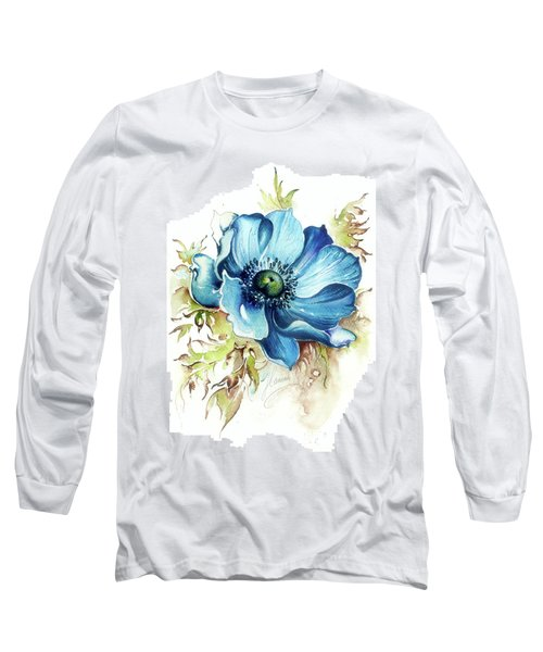Long Sleeve T-Shirt featuring the painting Blue Gem by Anna Ewa Miarczynska