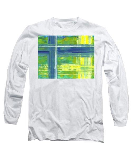 Blue Geometric Yellow Long Sleeve T-Shirt