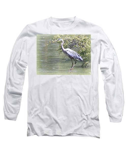 Blue Heron Long Sleeve T-Shirt by Clarice  Lakota