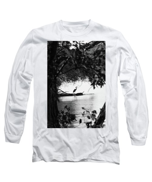 Blue Heron In Black And White. Long Sleeve T-Shirt