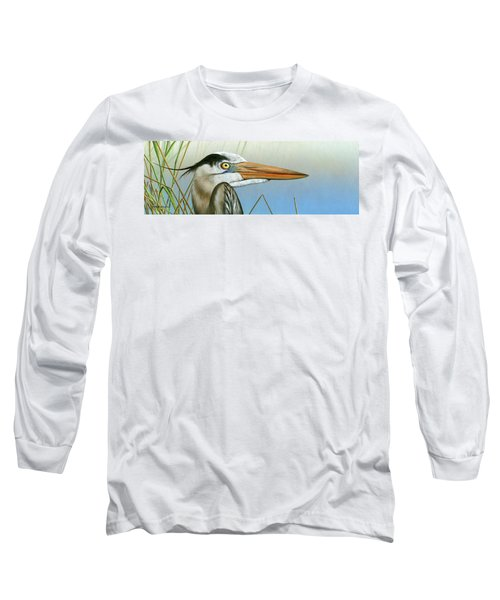 Blue Heron  Long Sleeve T-Shirt by Mike Brown