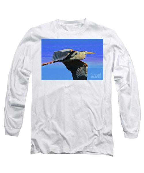 Long Sleeve T-Shirt featuring the painting Blue Heron Series Fly by Deborah Benoit