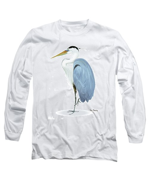 Long Sleeve T-Shirt featuring the painting Blue Heron With No Background by Anne Beverley-Stamps